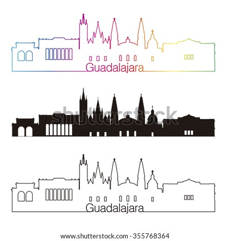Guadalajara skyline linear style with rainbow - stock vector
