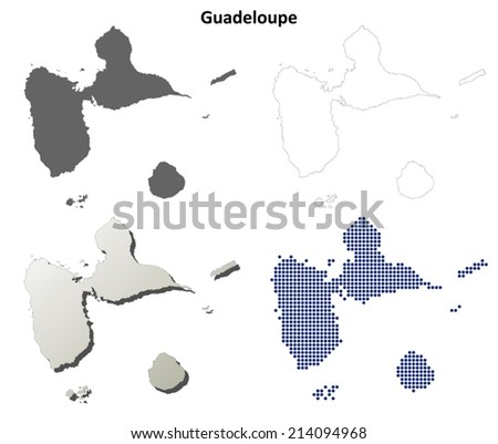 Guadeloupe detailed outline map set - vector version - stock vector