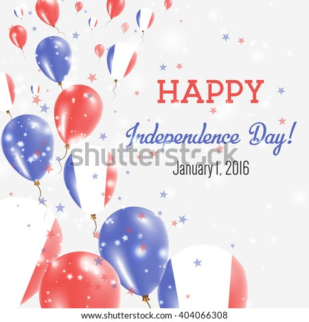 Guadeloupe Independence Day Greeting Card. Flying Balloons in Guadeloupian National Colors. Happy Independence Day Guadeloupe Vector Illustration.