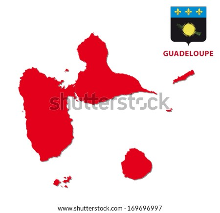 guadeloupe map with coat of arms