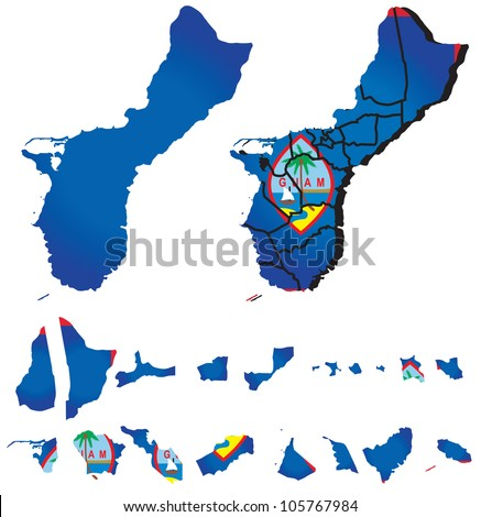 Guam map with flag - stock vector