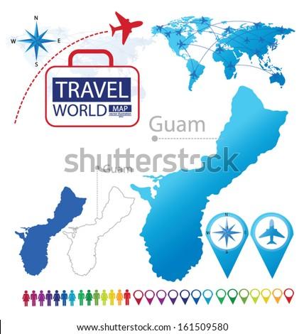 Guam World Map Travel Vector Illustration Stock Vector 161509580 ...