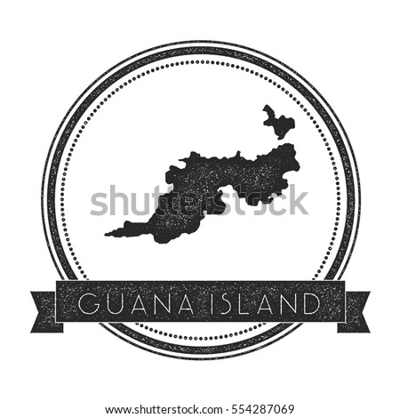 Guana island map stamp retro distressed insignia hipster round badge with text banner