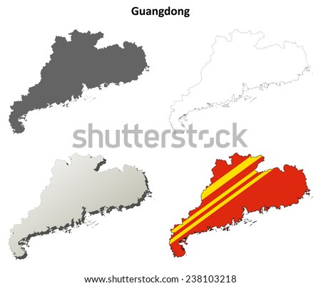 Guangdong blank outline map set - stock vector