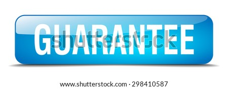 guarantee blue square 3d realistic isolated web button