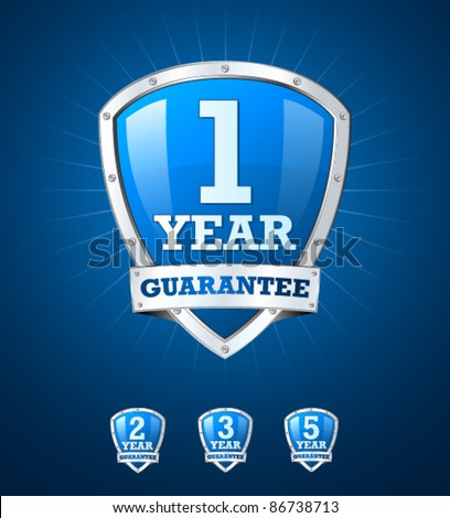 Guarantee label shield on blue background - stock vector