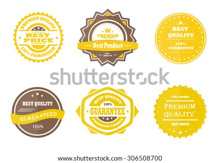 Guarantee, premium quality and best choice vector vintage retro yellow badges - stock vector