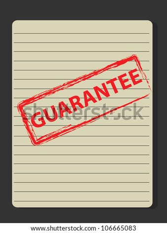 Guarantee stamp on old paper,Vector