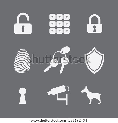 guard security icons, safe life. key pad. password - stock vector