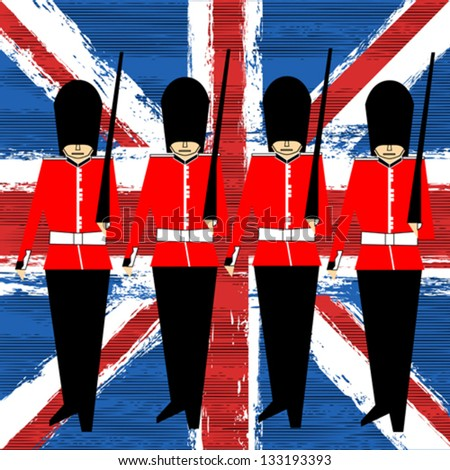 Guardsmen Marching Over A Union Jack vector background for a British Royal Event