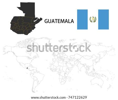 Guatemala Map On World Map Flag Stock Vector 747122629 Shutterstock