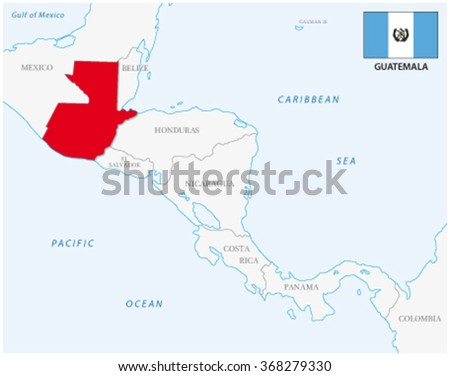 guatemala map with flag - stock vector