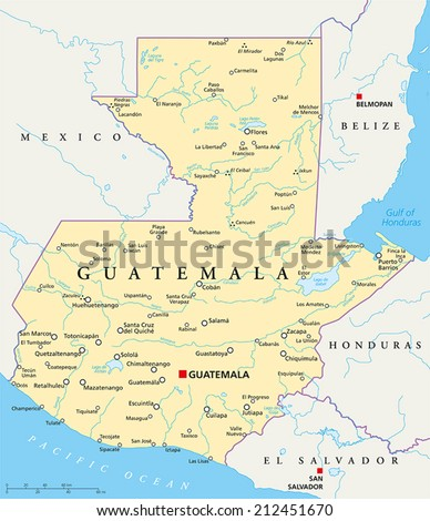 Guatemala political map capital guatemala city vector de guatemala political map with capital guatemala city national borders most important cities rivers gumiabroncs Gallery