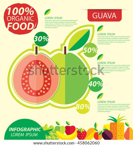 Guava. Infographic template. vector illustration.