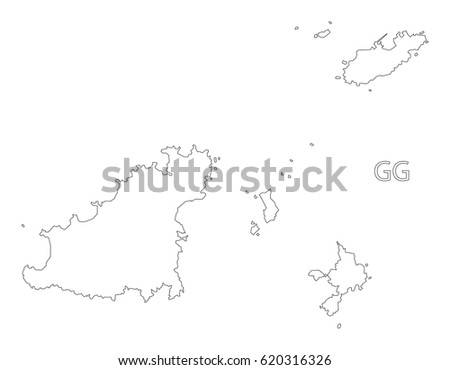 Guernsey Outline Silhouette Map Illustration Stock Photo Photo