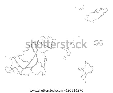 Guernsey outline silhouette map illustration with parishes