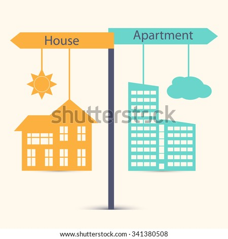 Guestion of choice between  house and apartment, village and town. Business concept in flat design.  House symdol vector illustration - stock vector