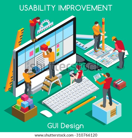 GUI design for Usability and User Experience Improvement. Interacting People Unique Isometric Realistic Poses. NEW bright palette 3D Flat Vector Concept. Team Creating Great Web Graphic User Interface - stock vector