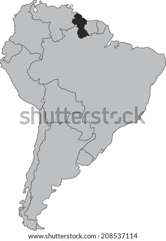 Guiana vector map isolated on white background with borders of South America