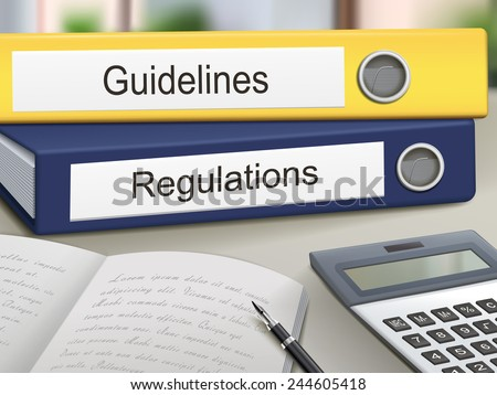 guidelines and regulations binders isolated on the office table - stock vector