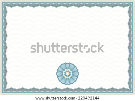 Guilloche Background for Certificate or Diploma (background, frame and rosette) - stock vector