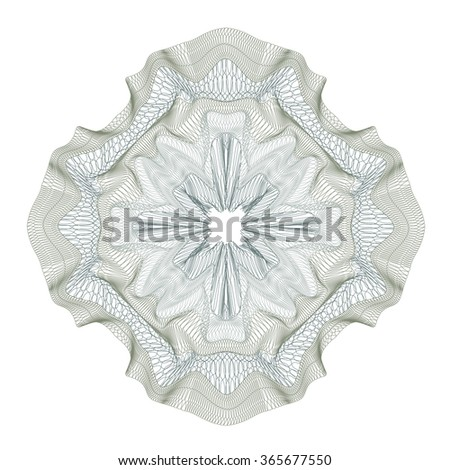 guilloche decorative element for design certificate, diploma and bank note - stock vector