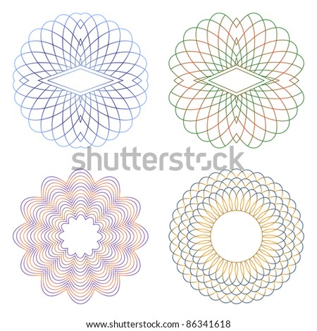 Guilloche decorative elements on a white background. - stock vector