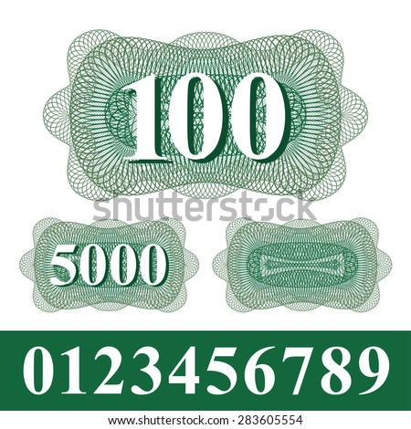 Guilloche element with numbers. Insulated guilloche and numbers - you can create a guilloche with variable number. Use for banknote, diploma, certificate, note, currency, voucher or money design. - stock vector