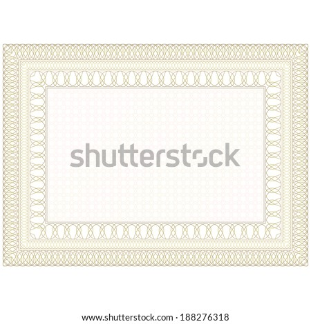 Guilloche form for the certificate, or the document. - stock vector