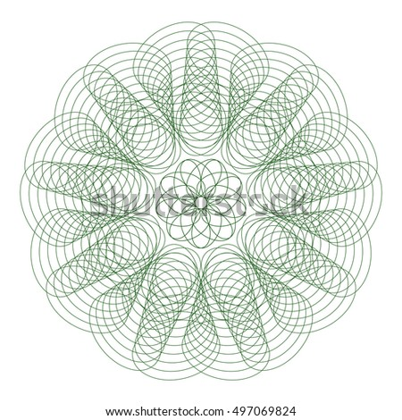 Guilloche mandala. It can be used as a protective layer for the certificates, diplomas, banknotes. Pattern Rosette for Play Money or Other Security Papers - Vector Illustration.