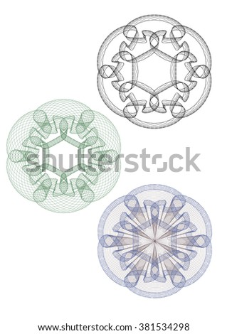 Guilloche Pattern Rosette for Certificate, Play Money or Other Security Papers - Vector Illustration, - stock vector