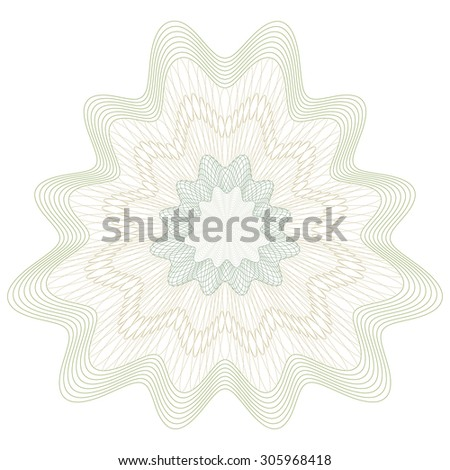 Guilloche Pattern Rosette for Certificate, Play Money or Other Security Papers - Vector Illustration - stock vector