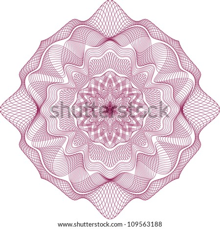 Guilloche Red Element for Certificate or Diploma, Currency and Money design / vector / All lines are easy editable - stock vector