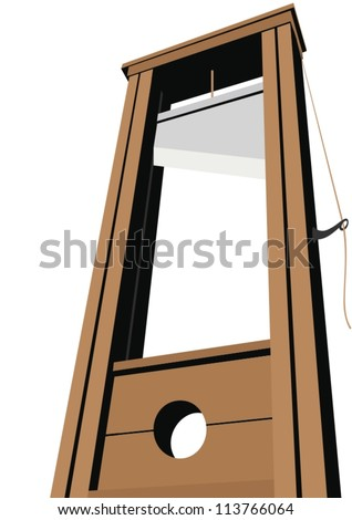 Guillotine with a raised knife. Tool to perform executions. The illustration on a white background. - stock vector