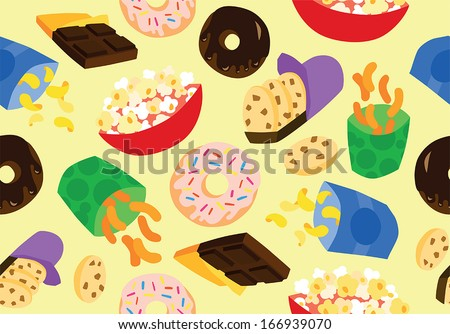 Guilty Snacks Seamless Background - stock vector
