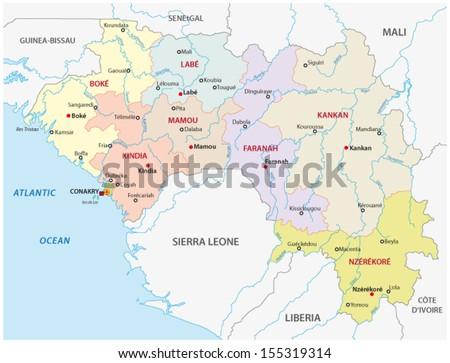 guinea administrative map - stock vector