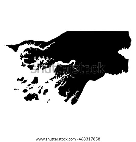 Guinea-Bissau black map on white background vector