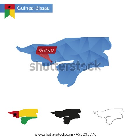 Guinea-Bissau blue Low Poly map with capital Bissau, versions with flag, black and outline. Vector Illustration. - stock vector