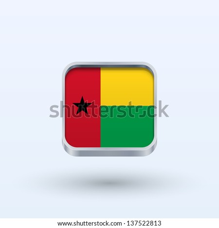 Guinea-Bissau flag icon square form on gray background. Vector illustration.