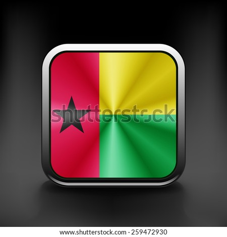 Guinea-Bissau icon flag national travel icon country symbol button. - stock vector