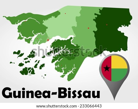 Guineabissau Political Map Green Shades Map Stock Vector 233066443