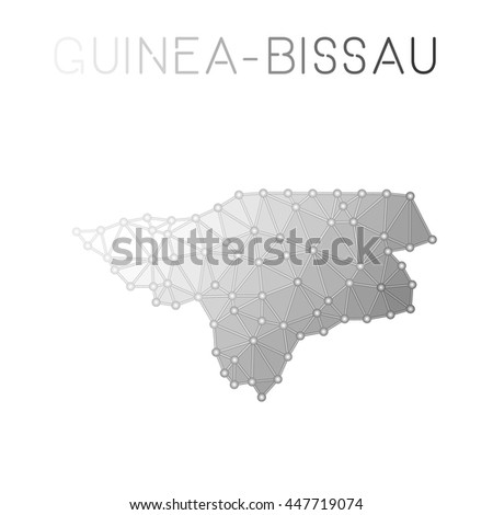 Guinea-Bissau polygonal vector map. Molecular structure country map design. Network connections polygonal Guinea-Bissau map in geometric style for your infographics.