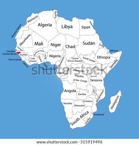 Guineabissau Vector Map Silhouette Isolated On Stock Vector