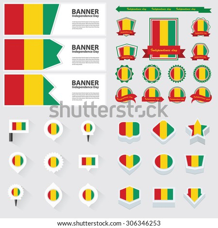 guinea independence day, infographic, and label Set.