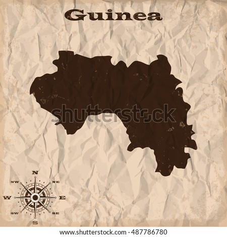 Guinea old map with grunge and crumpled paper. Vector illustration