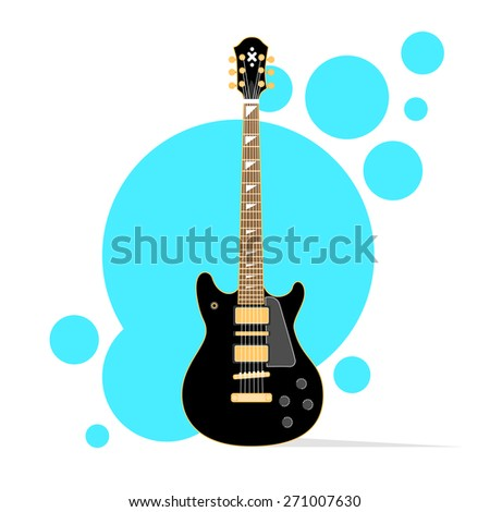 Guitar Acoustic Musical instrument over Abstract Color Circle Background Vector Illustration - stock vector