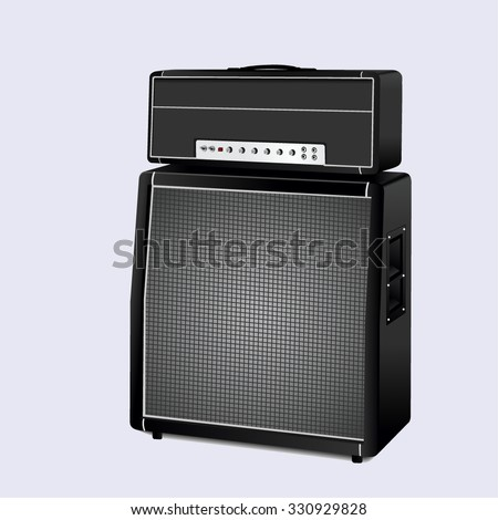 Guitar amplifier on white background. vector illustration