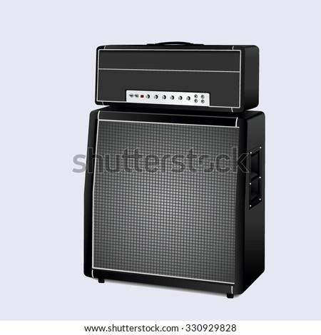 Guitar amplifier on white background. vector illustration - stock vector