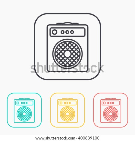 guitar amplifier outline color icon set  - stock vector