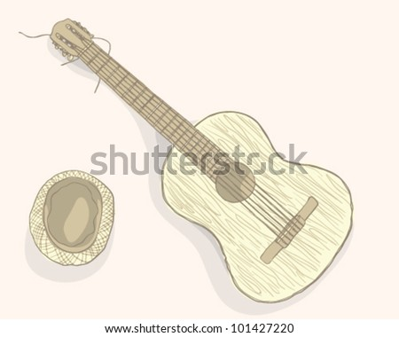 Guitar and hat - stock vector